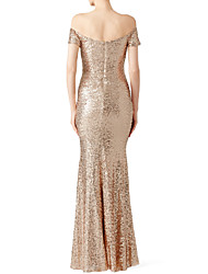 cheap -Mermaid / Trumpet Off Shoulder Floor Length Polyester Sparkle & Shine Prom / Formal Evening Dress with Sequin 2020