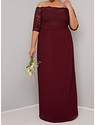 cheap -A-Line Off Shoulder Floor Length Chiffon / Lace Bridesmaid Dress with Appliques / Ruching