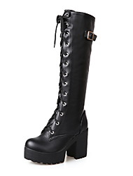 cheap -Women's Boots Knee High Boots Chunky Heel Round Toe PU Knee High Boots Fall & Winter Black / White