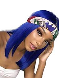 Недорогие -Синтетические кружевные передние парики Прямой Средняя часть Лента спереди Парик Короткие Синий Искусственные волосы 8-12 дюймовый Жен. Регулируется Жаропрочная Для вечеринок Синий