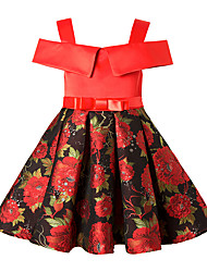 cheap -Kids Girls' Vintage Floral Bow Sleeveless Above Knee Dress Black