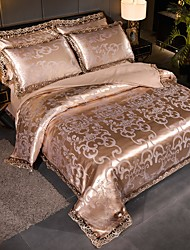 cheap -Duvet Cover Sets Ultra Soft Viscose Jacquard Stripes/ Ripples Polyester/ Luxury Lace/ 4 Piece Bedding Sets