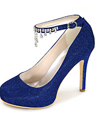 cheap -Women's Wedding Shoes Stiletto Heel Round Toe Rhinestone Synthetics Sweet Fall / Spring & Summer Black / Gold / Royal Blue / Party & Evening