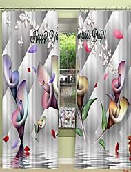 cheap -Water Calla Digital Printing 3D Curtain Shading Curtain High Precision Black Silk Fabric High Quality Curtain
