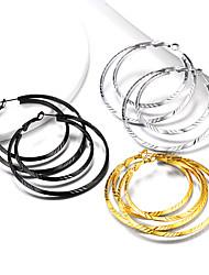 cheap -Women's Ear Piercing Hoop Earrings Geometrical Twist Circle Statement Fashion Stainless Steel Earrings Jewelry Black / Golden / Silver For Party Gift Daily Festival 1 Pair