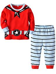 cheap -Kids Girls' Basic Christmas Home Santa Claus Print Cartoon Print Long Sleeve Regular Regular Clothing Set Red