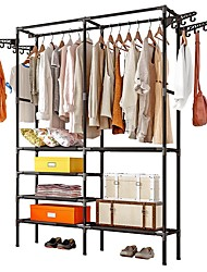 cheap -Free-Standing Closet Garment Rack Made of Sturdy Iron with Spacious Storage Space,  Clothes Hanging Rods, Heavy Duty Clothes Organizer for Bedroom, Entryway