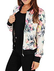 cheap -Women's Daily Fall & Winter Short Jacket, Plants Stand Long Sleeve Polyester White / Blue