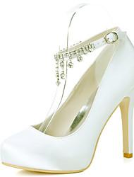 cheap -Women's Wedding Shoes Stiletto Heel Round Toe Rhinestone Satin Sweet Fall / Spring & Summer Black / White / Purple / Party & Evening