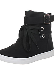 cheap -Women's Boots Flat Heel Round Toe Buckle Canvas Booties / Ankle Boots Casual Fall Black / Gray