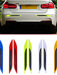 cheap -2pcs/lot 3D Car Reflective Tail Anti-Collision Strips Carbon Fiber Bumper Strips Safety Warning Tape Secure Reflector Stickers Decor