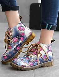 cheap -Women's Flats Flat Heel Round Toe PU Fall & Winter Black / Blue / Gray