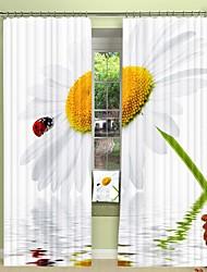 cheap -Ladybug Digital Printing on White Chrysanthemum 3D Curtain Wood Blackout Curtain High Precision Black Silk Fabric High Quality Curtain