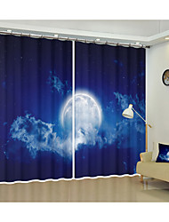 cheap -Star Fabric Decoration Bright Moon Digital Print 3d Curtain Shade Curtain High Precision Black Silk Fabric High Quality Grade One Shade Bedroom Living Room Curtain