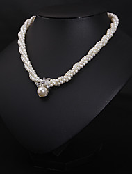cheap -Women's Pearl Pearl Necklace Layered Floral / Botanicals Statement Cute Imitation Pearl White 34+7 cm Necklace Jewelry 1pc For Wedding Engagement