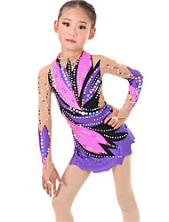 cheap -Rhythmic Gymnastics Leotards Artistic Gymnastics Leotards Women's Girls' Leotard Purple Spandex High Elasticity Handmade Print Jeweled Long Sleeve Competition Ballet Dance Ice Skating Rhythmic