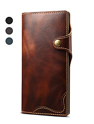 cheap -Case For Samsung Galaxy Galaxy Note 10 / Galaxy Note 10 Plus Card Holder / Magnetic / Auto Sleep / Wake Up Full Body Cases Solid Colored Genuine Leather / TPU