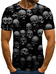 cheap -Men's Daily Going out Street chic / Exaggerated T-shirt - Geometric / 3D / Skull Pleated / Print Black