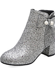 cheap -Women's Boots Chunky Heel Round Toe Rhinestone / Bowknot PU Booties / Ankle Boots Casual / British Fall & Winter Blue / Silver / Party & Evening