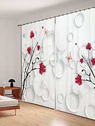 cheap -Red Simple Bouquet Digital Printing 3D Curtain Shading Curtain High Precision Black Silk Fabric High Quality Curtain