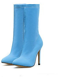 cheap -Women's Boots Stiletto Heel Pointed Toe PU Mid-Calf Boots Fall & Winter Yellow / Blue
