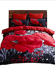 cheap -Duvet Cover Sets 3 Piece Polyester / Polyamide Geometric Red Reactive Print Luxury / 3pcs (1 Duvet Cover, 2 Shams)