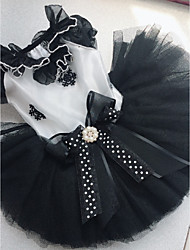 cheap -Dogs Cats Pets Dress Dog Clothes Black Costume Polyster Polka Dot Bowknot Wedding XS S M L XL