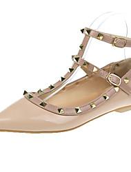 cheap -Women's Flats Rockstud shoes Flat Heel Pointed Toe PU Casual Fall Almond / Black / Beige