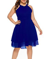abordables -Femme Basique Mi-long Gaine Robe Couleur Pleine Noir Bleu Rouge XL XXL XXXL Sans Manches
