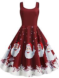 cheap -Audrey Hepburn Dress Adults' Women's Retro Vintage Christmas Christmas Festival / Holiday Polyester Drak Red Women's Carnival Costumes