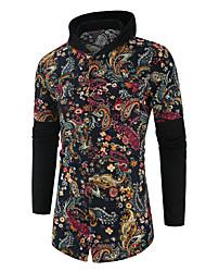 abordables -Homme Quotidien / Sortie Automne / Hiver Normal Manteau, Géométrique Capuche Manches Longues Polyester Noir