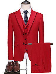 cheap -Red Solid Colored Slim Fit Polyester Suit - Peak Single Breasted Two-buttons