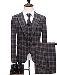 cheap -Gray Checkered Slim Fit Polyester Suit - Peak Single Breasted One-button