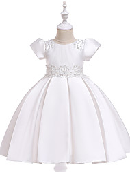 cheap -Kids Toddler Girls' Active Cute Solid Colored Christmas Beaded Bow Pleated Short Sleeve Knee-length Dress White
