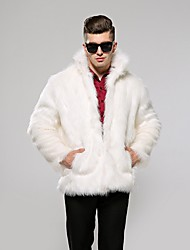 cheap -Men's Daily Fall & Winter Regular Faux Fur Coat, Solid Colored Stand Long Sleeve Faux Fur Black / White / Brown