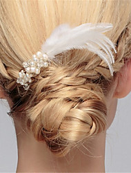 cheap -Feather Hair Combs with Feather / Imitation Pearl 1 Piece Wedding Headpiece