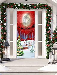 cheap -Christmas 3D Door Decal Sticker Christmas Tree Door Wallpaper Removable Vinyl Stickers for Indoor Outdoor Christmas Party Holiday Door Decoration