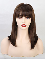 cheap -Human Hair Wig Medium Length Straight Natural Straight Neat Bang With Bangs Black Blonde New Fashion African American Wig Capless Women's All Black#1B Chestnut Brown Medium Auburn / Bleach Blonde 14