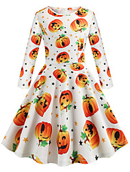 cheap -Audrey Hepburn Dress Party Costume Kid's Girls' Retro Vintage Halloween Halloween Festival / Holiday Polyster Orange Carnival Costumes
