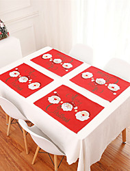 cheap -1pcs Embroidered Christmas Tablecloth Christmas Table Decoration Home Decoration Table Mat