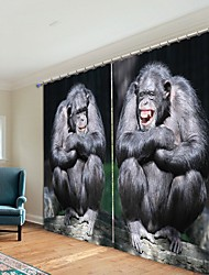 cheap -Gorilla Digital Printing 3D Curtain Shading Curtain High Precision Black Silk Fabric High Quality Curtain