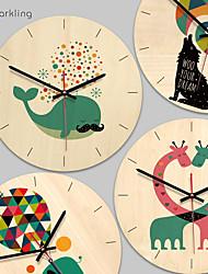 cheap -Wall Clock Wooden Giraffe Cartoon Animal Living Room Kitchen Clock Unique Gift For Children Creative Colorful