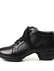 cheap -Women's Dance Sneakers Leather Lace-up Sneaker Thick Heel Customizable Dance Shoes Black / White / Performance / Practice