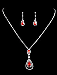 cheap -Women's White Crystal Bridal Jewelry Sets Chandelier Love Lucky Pear Vintage Elegant Earrings Jewelry aqua blue / bright red For Wedding 1 set