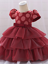 cheap -Baby Girls' Active Solid Colored Lace / Bow / Layered Short Sleeve Knee-length Dress Wine