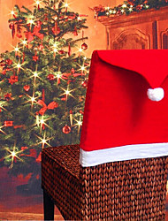cheap -Christmas Red Santa Hat Chair Slipcover Chair Back Cover X'mas Decoration/ 1pcs/ Dining Kitchen Restaurant Festive Decor