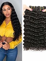 cheap -3 Bundles Brazilian Hair Deep Wave Virgin Human Hair Natural Color Hair Weaves / Hair Bulk 8-28 inch Human Hair Weaves Human Hair Extensions / 10A