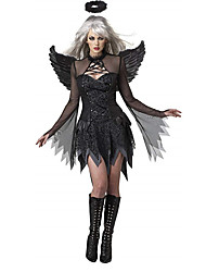 cheap -Fallen Angel Cosplay Costume Adults' Female Cosplay Halloween Halloween Carnival Masquerade Festival / Holiday Cotton Black Female Carnival Costumes Solid Colored / Dress / Dress