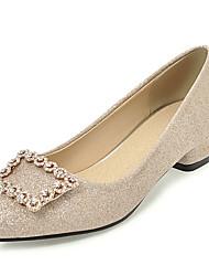 cheap -Women's Heels Chunky Heel Pointed Toe Rhinestone / Rivet PU Sweet / Minimalism Spring & Summer / Fall & Winter Black / Gold / Silver / Party & Evening