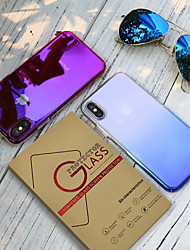 cheap -Case With Screen Protect For Apple  Dustproof / Plating / Transparent Back Cover Color Gradient PC for iPhone 7 / 7 P / 8 / 8 P/ 6 /6 Plus / X/XS/XR/XS MAX